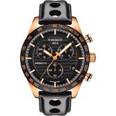 TISSOT 天梭 PRS516 三眼計時手錶-黑x玫塊金框/42mm T1004173605100