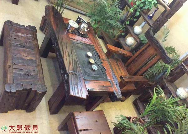 【大熊傢俱】老船木 泡茶桌 茶台 茶几 實木桌 原木桌 主人椅 扶手椅 靠背椅 船木家具 休閒組椅