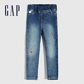 Gap女幼童 可愛風格印花鬆緊牛仔褲 601586-愛心圖案