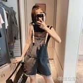 吊帶牛仔吊帶褲女小個子夏韓版寬鬆2020新款洋氣減齡流行闊腿短褲