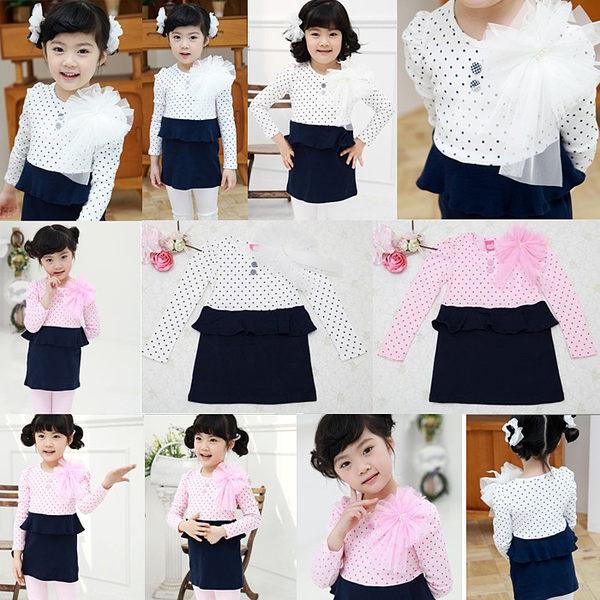 韓版《點點大花朵》氣質連身小洋裝