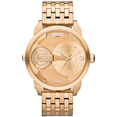 DIESEL 航行者二地時間個性時尚腕錶-玫瑰金
