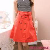 【RED HOUSE-蕾赫斯】風衣設計款棉質及膝裙(橘紅) 零碼出清,滿599元才出貨