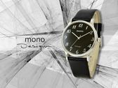 【時間道】mono 曼諾 都會簡約風格中性腕錶 / 黑面數字刻度黑皮帶-大(5003B-260)免運費