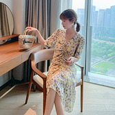 V領短袖洋裝~9086長款法式復古V領紫色顯瘦氣質碎花雪紡連衣裙女H-325 胖妞衣櫥