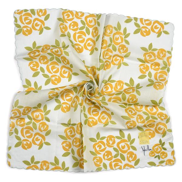 Sybilla薔薇波浪邊刺繡純綿帕領巾(黃色)989164-113