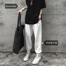 運動褲 奶白色運動褲女寬鬆束腳顯瘦ins潮秋季休閒收腳褲 【618特惠】