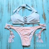 【R】歐美 粉彩少女 水紋樣 前交叉 粉嫩色 流蘇綁帶 比基尼 丁字褲 二件式 舒適無鋼圈 泳衣