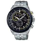 【CASIO】 EDIFICE 三眼三針碼錶計時不鏽鋼腕錶-黑X黃(EFR-561DB-1A)