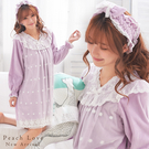 秋冬睡衣 雙層絨毛天鵝絨兩件式睡裙+髮帶(紫)-保暖、居家服_蜜桃洋房