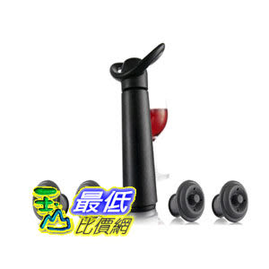 [104美國直購]《VACU VIN》Click Wine Saver Concerto Pump with 4 x Vacuum Bottle Stoppers紅酒抽真空器+4瓶塞組 $830