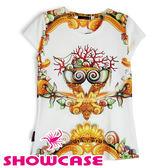 【SHOWCASE】潮流個性插畫短袖白T恤 (珊瑚寶石)