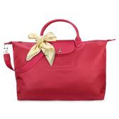 LONGCHAMP 短提把兩用大型厚尼龍水餃包(桃紅色/送帕巾)480167-232