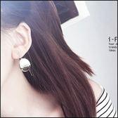 5天出貨★簡約橢圓片金屬弧形耳釘幾何耳環★ifairies【29609】
