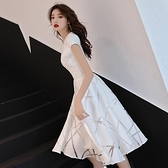 白色晚禮服裙女2020新款中長款學生平時可穿氣質宴會洋裝小個子 「99購物節」