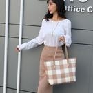 包包女2020年新款潮輕便格子單肩包時尚印花斜背大容量手提托特包 【端午節特惠】