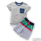 口袋短袖上衣+拚色條紋短褲 短袖套裝 橘魔法 Baby magic 現貨 男童 童裝