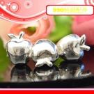 銀鏡DIY S990純銀材料配件/膨膨立體穿式亮面蘋果J(象徵平安)~適合手作蠶絲蠟線/幸運衝浪繩