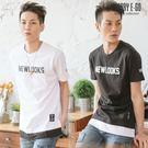 Cherry e購【K5398】潮男,NEWLOOKS假兩件短袖棉T_3色
