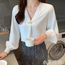 雪紡長袖襯衫女2021春裝新V領寬松時尚洋氣寸職業氣質上衣白襯衣 小艾新品