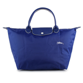 Longchamp 1623 LE PLIAGE 奔馬刺繡短提把中型尼龍摺疊水餃包(鈷藍色)480207-P24