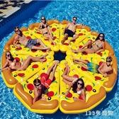 游泳浮床 水上充氣浮床加厚披薩浮排泳池戲水玩具男女坐騎成人游泳圈LB16277【123休閒館】