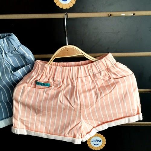 ☆棒棒糖童裝☆夏女童鬆緊腰條紋折邊短褲 5-15  2色