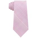 CK 男時尚粉紅色格子真絲窄領帶