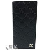 【GUCCI 古馳】473920 經典Signature系列GG壓紋銀色金屬LOGO牛皮折疊長夾(深藍)