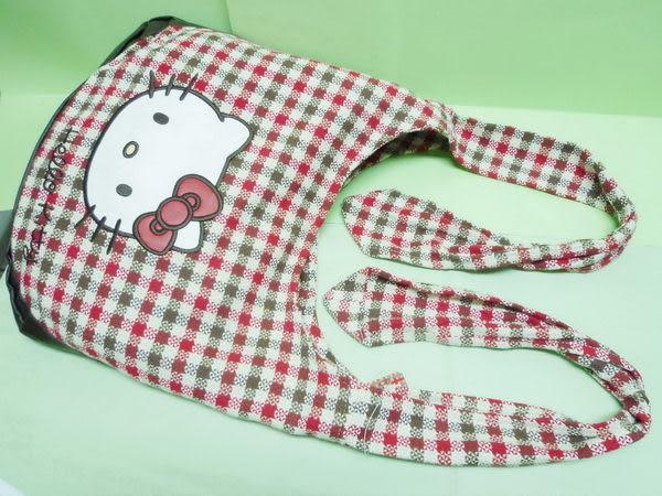 【震撼精品百貨】Hello Kitty 凱蒂貓~多功能包手提袋肩背包斜背包『格紋大臉』