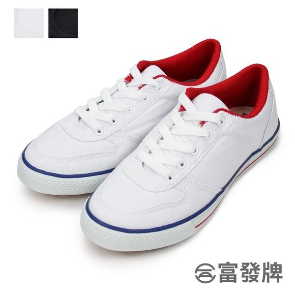 【富發牌】韓版帆布運動鞋-全黑/白 1CMT19