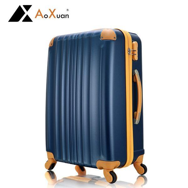 行李箱 登機箱 20吋 ABS撞色耐衝擊護角 AoXuan 玩色人生-深藍色