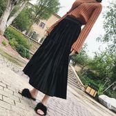 85折春夏季港味chic風百褶半身長裙開學季
