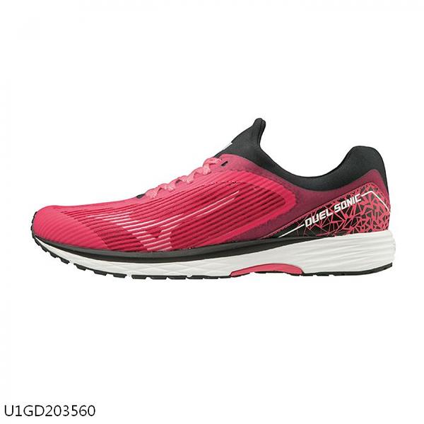 MIZUNO DUEL SONIC 女鞋 慢跑 路跑 耐磨 一般 高反發特性 桃紅【運動世界】U1GD203560
