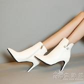 小碼短靴31-32-33歐美尖頭細跟單靴春秋靴子水鉆大碼女靴 41-47冬 小時光生活館