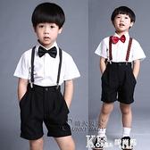 男童白色短袖襯衫西褲黑短褲套裝紅領結表演服兒童花童禮服演出服