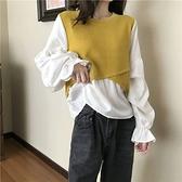 假兩件上衣秋季韓版2021新款假兩件針織拼接設計感寬鬆泡泡長袖襯衫上衣女裝  伊蘿