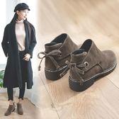短靴女 秋季新款韓版百搭粗跟英倫風加絨學生女鞋原宿馬丁靴潮 免運