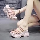 女士拖鞋外穿 夏季2020時尚網紅懶人鞋 半拖鬆糕厚底內增高涼拖 降價兩天