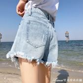 破洞牛仔短褲女夏新款高腰寬鬆闊腿韓版學生百搭毛邊熱褲艾美時尚衣櫥艾美時尚衣櫥
