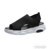 運動風涼鞋女2020新款夏季飛織百搭松糕鞋平底鞋厚底網面魚嘴鞋子