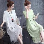 中國風洋裝 夏裝復古民族風印花連衣裙夏中長款大碼假兩件連衣裙裙 快速出貨