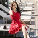 蕾絲魚尾裙韓版名媛氣質超仙夏季新款無袖掛脖流蘇雪紡羽毛背心連衣洋裝 Mt9329『紅袖伊人』