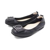 【南紡購物中心】W&M (女)圓頭蝴蝶方釦 娃娃鞋 平底鞋 女鞋 -黑(另有藍)