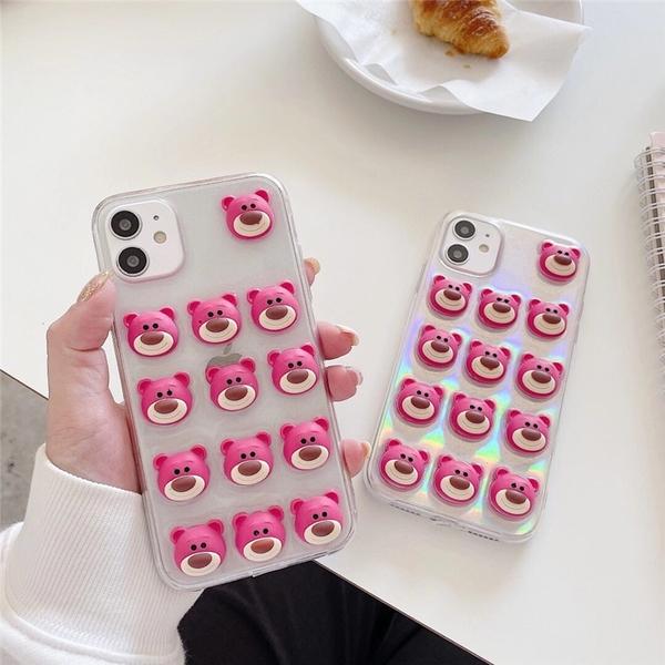 iPhone12 蘋果手機殼 預購 可掛繩 立體密集草莓熊抱哥(送鐳射紙) 矽膠軟殼 i11/iX/i8/i7/SE