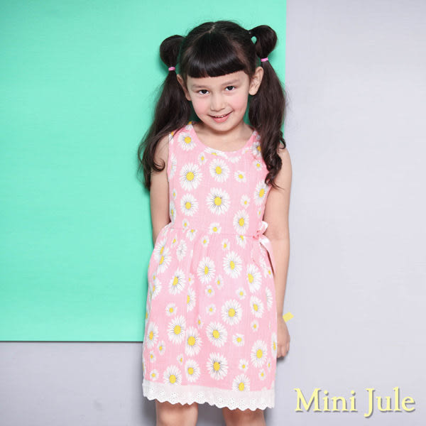 Mini Jule 女童 洋裝 花朵印花蝴蝶結無袖洋裝(粉)