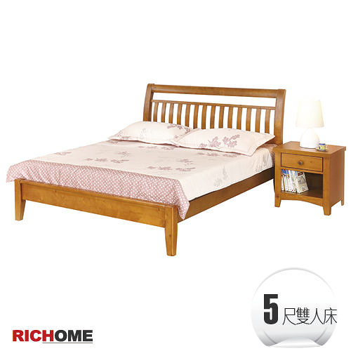 【RICHOME】BE203專人到府安裝《曼尼雙人床》柚木材質 / 實木床架/雙人床架