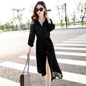 防曬衣防曬衣女夏季韓版中長款雪紡衫披肩超薄沙灘外套大碼外搭開衫上衣麥吉良品
