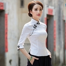 中式服裝女裝旗袍上衣2021春夏新款中袖復古時尚大碼唐裝茶服漢服 快速出貨