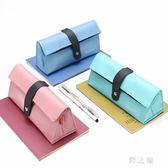 筆袋  文具盒女韓版創意可愛簡約大容量便攜式小清新筆袋學生PU皮 KB9622【野之旅】